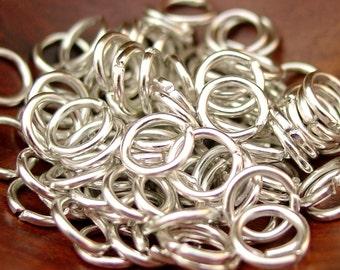 200 pcs 8mm Aluminum Jump Rings, Open, Silver Color/Bare Aluminum (16 gauge)