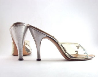 High Heels, Silver Leather, Vintage, Springolator