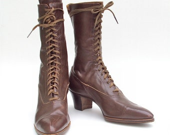 Antique Boots for Ladies Brown Leather Lace Up Vintage
