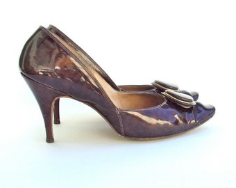 High Heels, Brown, Patent Leather, Stilettos, Vintage