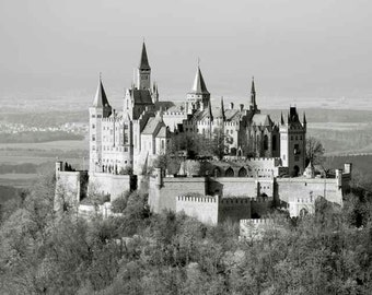 German Castle Enchanted Mountain Top Village Fairy Tale Towers Turrets Romantic European Architecture Germany Photography Photo Print