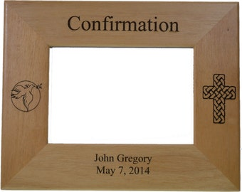 """Confirmation Picture Frame Personalized Made of Solid Red Alder Wood holds 4"""" by 6"""" photo - Perfect Unique Confirmation Gift"""
