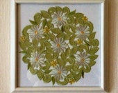 Vintage Hand Painted Frame with Mounted Daisy Doily ... OOAK ... Unique Gift ... Wall Decor