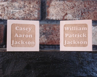 Two Personalized Baby Blocks - Two Different Personalized Blocks. Great for Twins!
