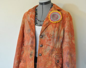 Orange Medium Denim Jacket - Orange Hand Dyed Upcycled Loft Jeans Denim Blazer Jacket - Adult Women's Size Medium (38 chest)