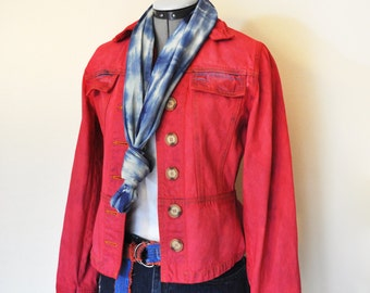 "Red Small Denim JACKET - Crimson Red Hand Dyed Upcycled Bernard Sport Denim Trucker Blazer Jacket - Adult Womens Small (36"" chest)"