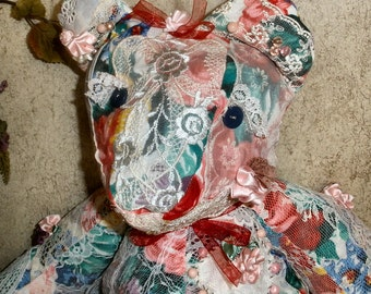 Victorian teddy bear Crazy Lace art bear Victoria Rose