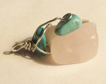 Rose Quartz and Turquoise wire wrapped pendant focal bead