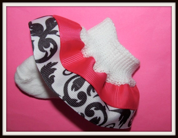 Gorgeous DAMASK Double Ruffle Socks...You CHOOSE Size and Solid Ribbon Color
