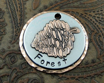 Pine Cone Dog Tag - Dog ID Tag - Pet Tag - Custom dog tag - Forest