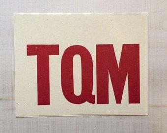 TQM (Love you) Letterpress Card