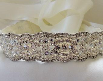 Cordelia Bridal Wedding Dress Jeweled Crystal Beaded Embellished Belt Sash
