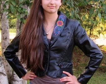 VIntage Bermans Jacket / Leather Jacket / Biker Jacket / Handpainted Leather Jacket / Black Leather Jacket / Shorty Leather Coat / Size 8