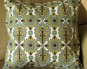 """Dark Brown, Teal Blue, Olive Green, Ivory Pillow Cover, 16 Inch Square, Floral Printed, Envelope Style Cotton Pillow Cover, """"Flourish"""""""