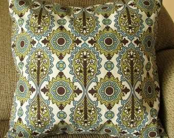 "Cotton Pillow Cover, Dark Brown, Teal Blue, Olive Green, and Ivory, 16 Inch Square, Floral Printed, Envelope Style, ""Flourish"""
