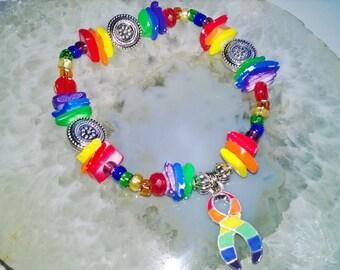 """Gay Pride Bracelet (274) 6 1/4"""", cancer awareness, cause jewelry, cause bracelet, awareness bracelet, cancer support, support bracelet"""