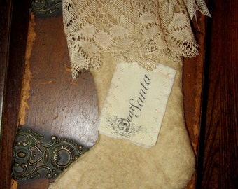 Sweet Vintage lace Cotton Woolen Small Christmas Stocking Ornament  Dear Santa