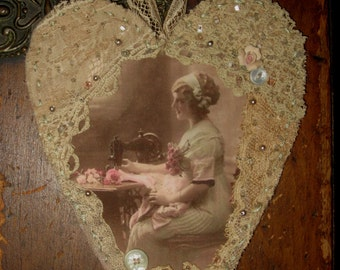 Vintage Image Sewing Lady Seamstress Lace Collage Heart Ornament