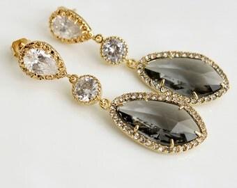 Grey Wedding Jewelry Grey Bridal Earrings Wedding Earrings Gold Cubic Zirconia Posts Black Diamond Glass drops