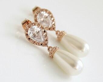 Rose Gold Pearl Earrings Bridal Pearl Earrings Swarovski Pearl Drop Earrings Rose Gold Wedding Earrings Bridal Jewelry, Aria
