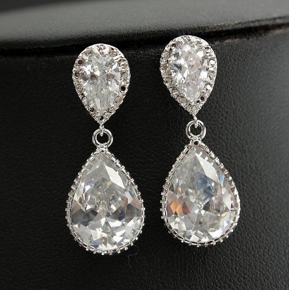 Wedding Earrings Bridal Earrings with Clear Cubic Zirconia Silver Posts Bridesmaid Earrings Wedding Jewelry