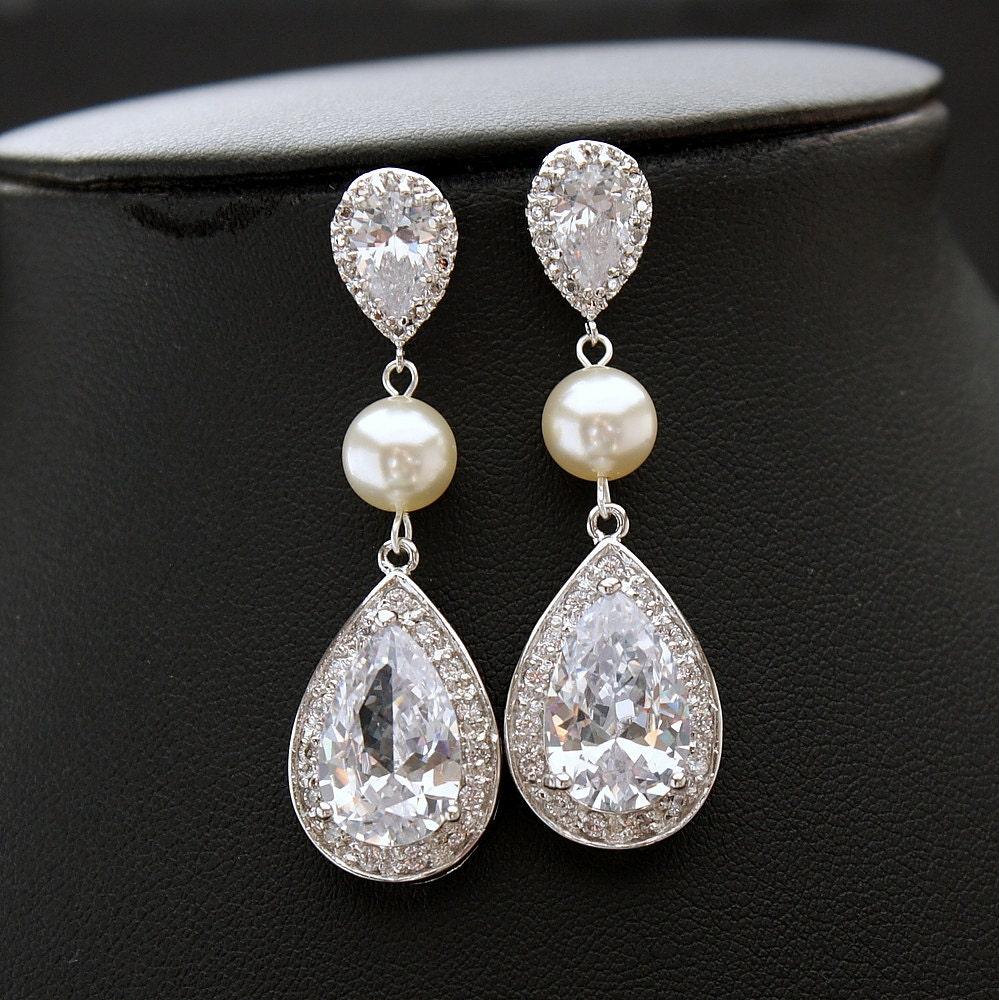 Large Bridal Earrings Crystal Pearl Wedding By Poetryjewelry