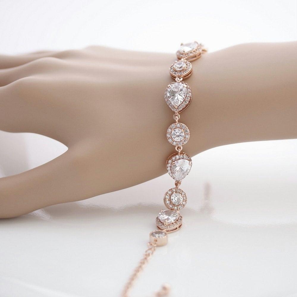 Wedding Charm Bracelet: Rose Gold Bridal Bracelet Wedding Jewelry Wedding Bracelet