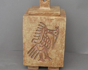Large stoneware urn (for a person or large pet) with Aztec heron design