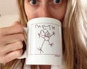 funny kid art cat drawing on a coffee mug