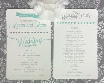 Printable Wedding Programs - Seafoam Hearts - Style P7 - LECOEUR COLLECTION