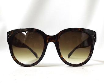 vintage 1990's women sunglasses round plastic frames tortoise shell fashion accessories accessory retro modern sun glasses eyewear oversized