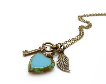 Skeleton Key Blue Heart Charm Necklace, Picasso Glass - Bronze Leaf - Victorian Style Romantic Necklace