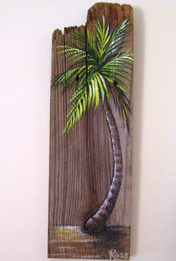 Palm tree hand painted on reclaimed fence board wood plaque