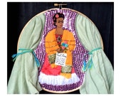 Frida Kahlo Hoop Art: Self-Portrait for Leon Trotsky with Sequins, Beads, Embroidery, Recycled Fabric, 8-inches