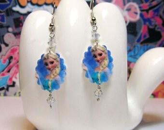Disney's Elsa Snow Queen Scalloped Dangle Earrings