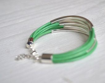 Mint Leather Cuff Bracelet with Silver Tube Beads - Minamalist Design Multi Strand Bangle Women's Bracelet ... by  B A L O O S