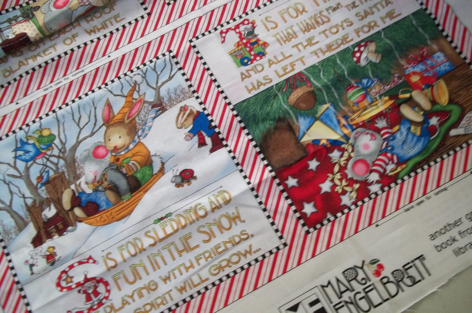 Children 39 s fabric book panel a merry little christmas for Children s fabric panels