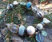 Handmade Antiqued Lampwork Glass Bracelet
