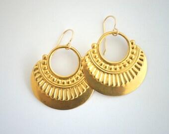 Brass Art Deco Earrings, Gold Earrings,Stamped Metal Earrings, Pattern Earrings, Statement Earrings, Gold Tribal Earrings