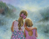Two Sisters Art Print, summer, two blond girls, hugging, sunshine, Girls Room Decor, Girls Room, Vickie Wade art