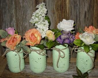 Painted Mason Jar Mint Green Weddings Decorations Centerpiece Wedding Vases  Rustic Wedding Cottage Chic Barn Wedding
