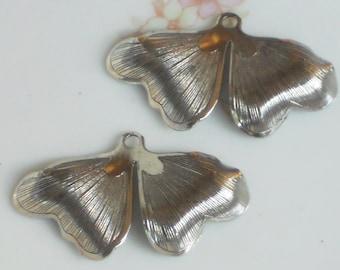 Vintage Leaf Drops Art Nouveau Connectors Dangle Gun Metal Silver Stamped. #1408