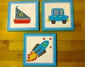 3 pc set boat, rocket, car for bathroom or nursery