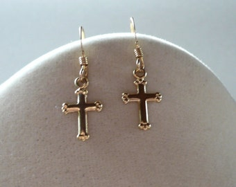 Little Cross Earrings in gold fill