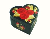 Hand Painted Jewelry Box - Heart Shape Box, Red Roses, Gold Leaves - Traditional Wedding Bridal Jewelry Box Hand-Painted Jewellry Gift Box