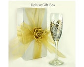 Bridesmaid Wine Glasses Deluxe Gift Boxes - Champagne Flute or Wine Glass, Matching Ribbon, 5 Boxes - Wedding Party Gift Box Wine Glass Gift