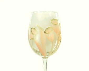 Hand Painted Wine Glasses - Elegant Blush Pink and Gold Tulips Set of 6 - Custom Wine Glass Set 50th Wedding Anniversary Gift Idea