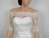 Off-Shoulder ivory Alencon Lace bolero jacket dot lace
