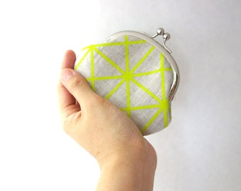 Coin Purse - Frame Change Purse- citron grid on organic natural linen