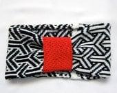 Geometric Knit headband, black and white, Ghucci - Knit Mystique